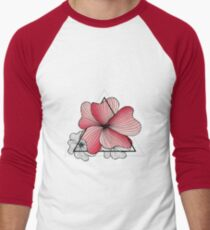 pink flowers in triangle Men's Baseball ¾ T-Shirt