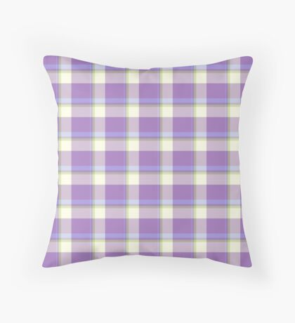 Lavender Tartan Design by Julie Everhart Throw Pillow