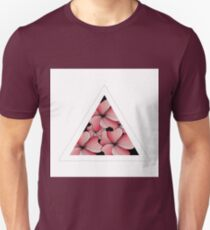 pink flowers in triangle Unisex T-Shirt