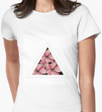 pink flowers in triangle Womens Fitted T-Shirt