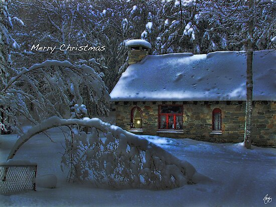 Christmas Card Moonlight on the Stone House by Wayne King