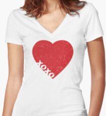 Valentine Heart Women's Fitted V-Neck T-Shirt