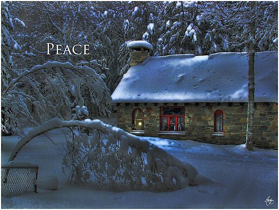 Moonlight on the Stone House Holiday card by Wayne King