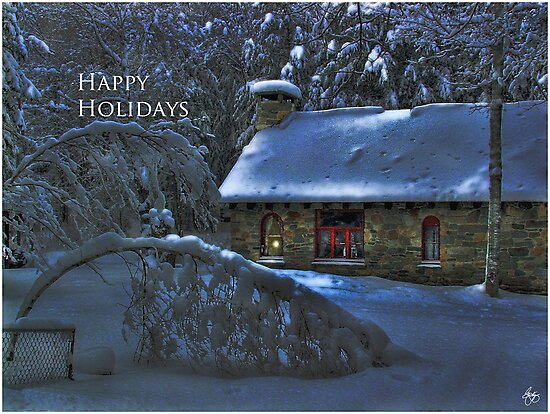 Happy Holidays, Moonlight on the Stone House Christmas card by Wayne King