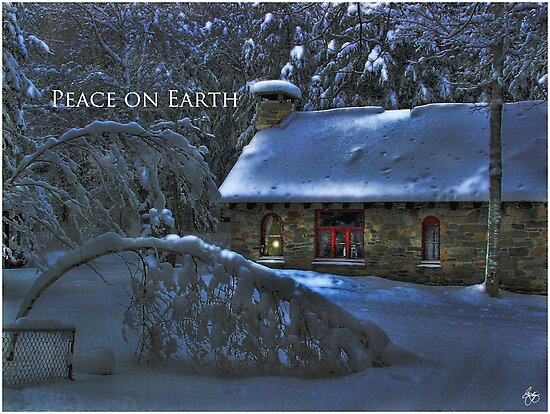Peace on Earth, Moonlight on the Stone House Christmas card by Wayne King