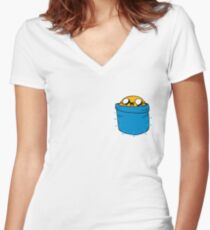 JAKE IN HIS POCKET Women's Fitted V-Neck T-Shirt