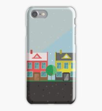 Vector illustration: colorful houses. Suburbs landscape. Flat design. Tenement houses iPhone Case/Skin