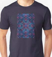 Cherry Red & Navy Blue Watercolor Floral Pattern Unisex T-Shirt