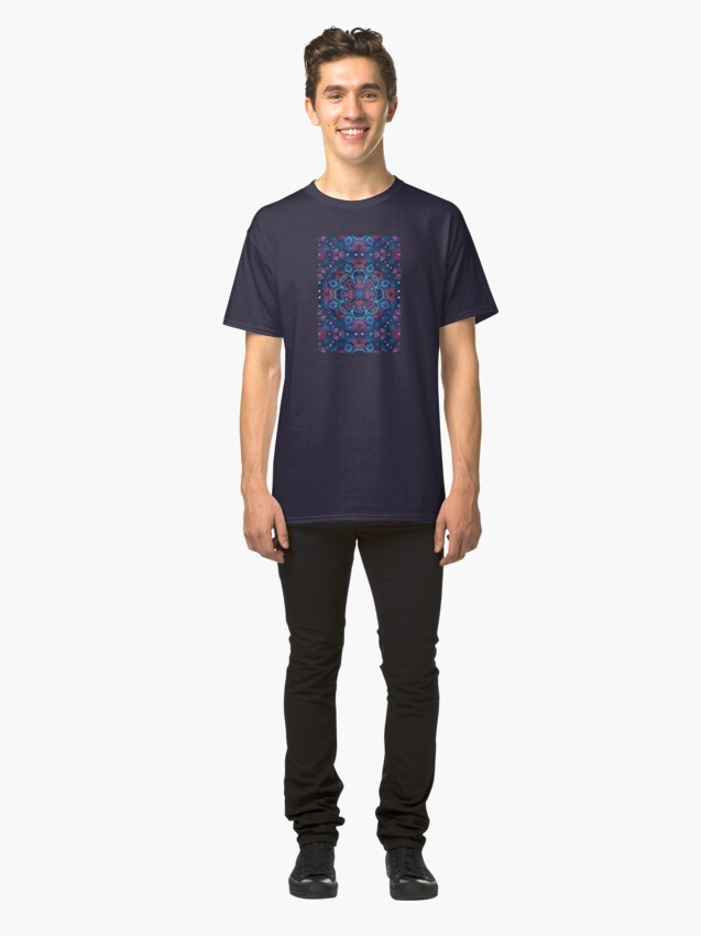 Alternate view of Cherry Red & Navy Blue Watercolor Floral Pattern Classic T-Shirt