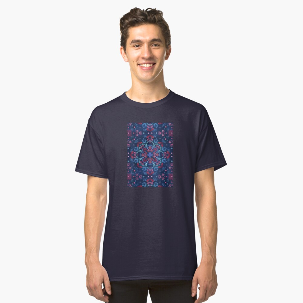 Kirsche Red & Navy Blue Aquarell Blumenmuster Classic T-Shirt