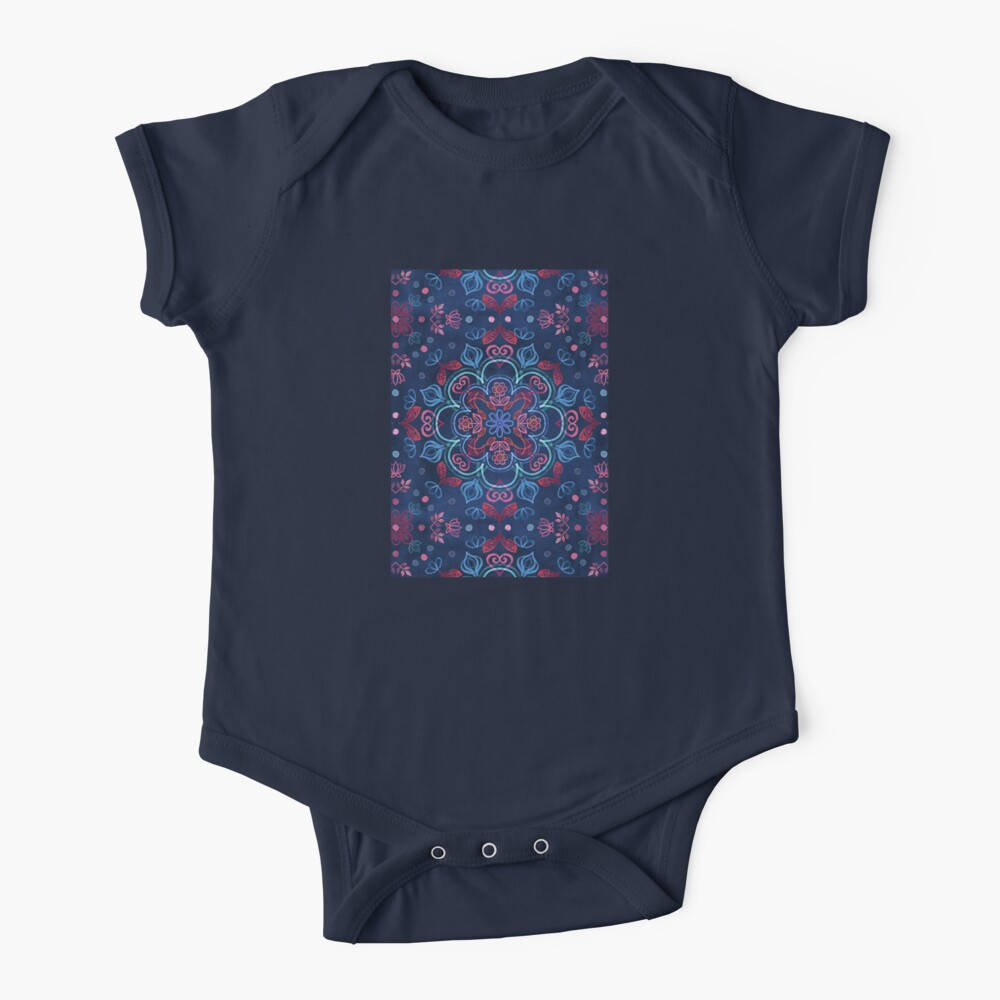 Cherry Red & Navy Blue Watercolor Floral Pattern Baby One-Piece