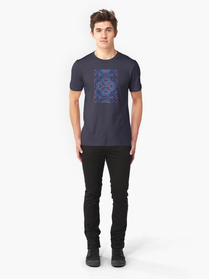 Alternate view of Cherry Red & Navy Blue Watercolor Floral Pattern Slim Fit T-Shirt