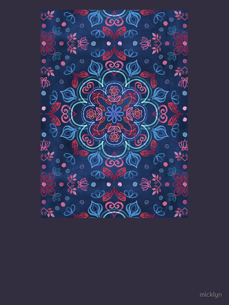 Cherry Red & Navy Blue Watercolor Floral Pattern by micklyn