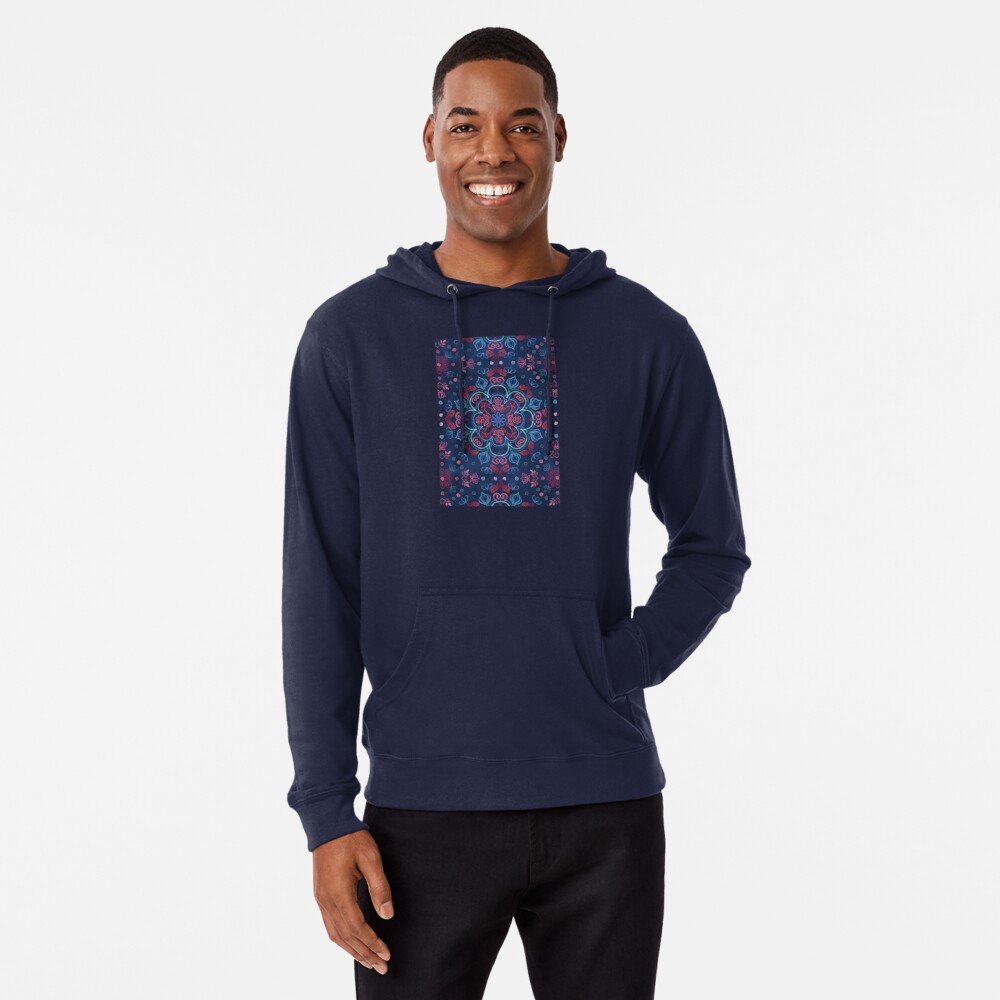 Cherry Red & Navy Blue Watercolor Floral Pattern Lightweight Hoodie