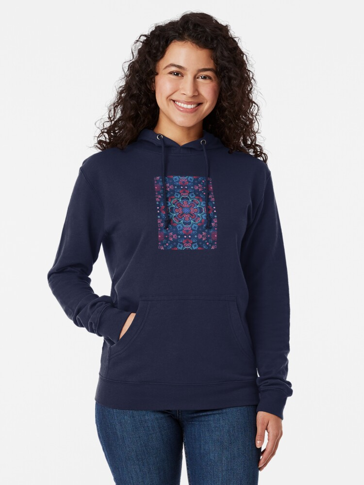 Alternate view of Cherry Red & Navy Blue Watercolor Floral Pattern Lightweight Hoodie