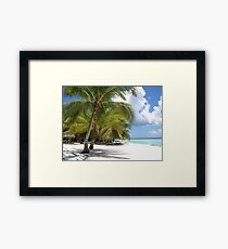 Palm Trees, Blue Skies and White Sand Framed Print