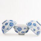 Japanese Tea Bowls, Blue on White by Skye Hohmann