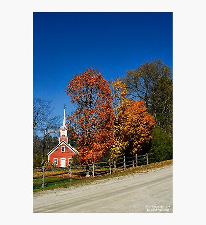 Little Red Church in Fall Photographic Print