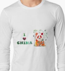 Watercolor  Asian background.  I love  China. T-Shirt