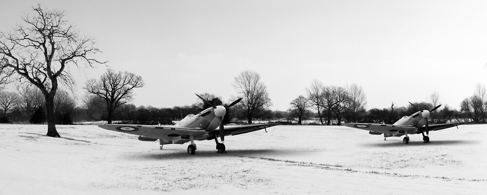 Spitfires in the snow black and white version by Gary Eason