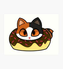 Japanese Bobtail Donut Cat Art Print