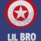 Lil Bro Little Brother Family Star Shield Funny Graphic Tee Fourth of July Shirts by DesIndie
