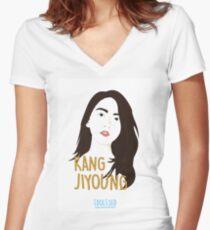 KARA Jiyoung Women's Fitted V-Neck T-Shirt