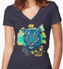 TIGER ROAM Women's Fitted V-Neck T-Shirt