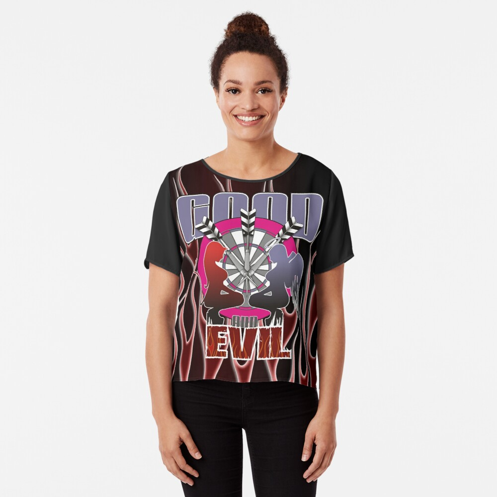 Darts: Good And Evil Women's Chiffon Top Front