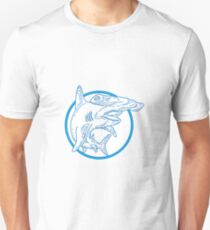 Hammerhead Shark Circle Mono Line Unisex T-Shirt