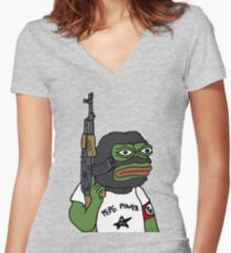 """RARE PEPE FROG """"PEPE POWER"""" Women's Fitted V-Neck T-Shirt"""