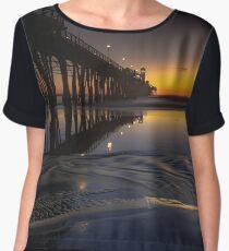 Oceanside Pier Sunset Low Tide Chiffon Top