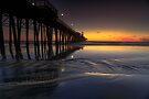 Oceanside Pier Sunset Low Tide by photosbyflood