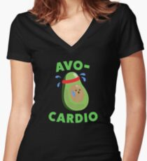 Avo-Cardio Funny Avocado Fitness Women's Fitted V-Neck T-Shirt