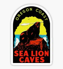 Oregon Coast Sea Lion Caves Vintage Travel Decal Sticker