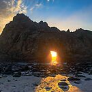 Pfifer Beach Keyhole Rock Sunset by photosbyflood