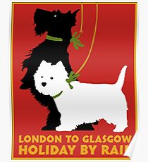 Vintage London to Glasgow by rail terrier dogs travel poster Poster