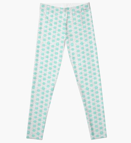 Turquoise  Flower Design by Julie Everhart Leggings