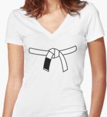Brazilian Jiu Jitsu (BJJ) White Belt Women's Fitted V-Neck T-Shirt
