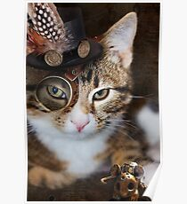 Steampunk Funny Cute Cat Poster