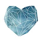 Heart Graphic Watercolor Blue by Mareike Böhmer