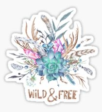 Wild and Free Boho Watercolor Illustration Sticker