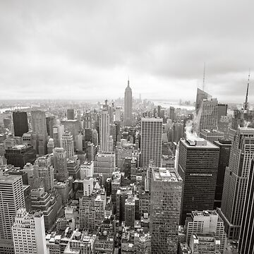 Black and white aerial view over Manhattan by palinchak