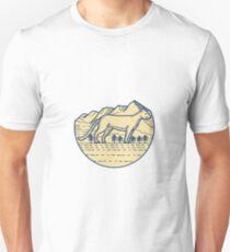 Cougar Mountain Lion Tree Mono Linie Unisex T-Shirt