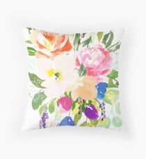 Watercolor Floral Bouquet Mixed Flowers Throw Pillow
