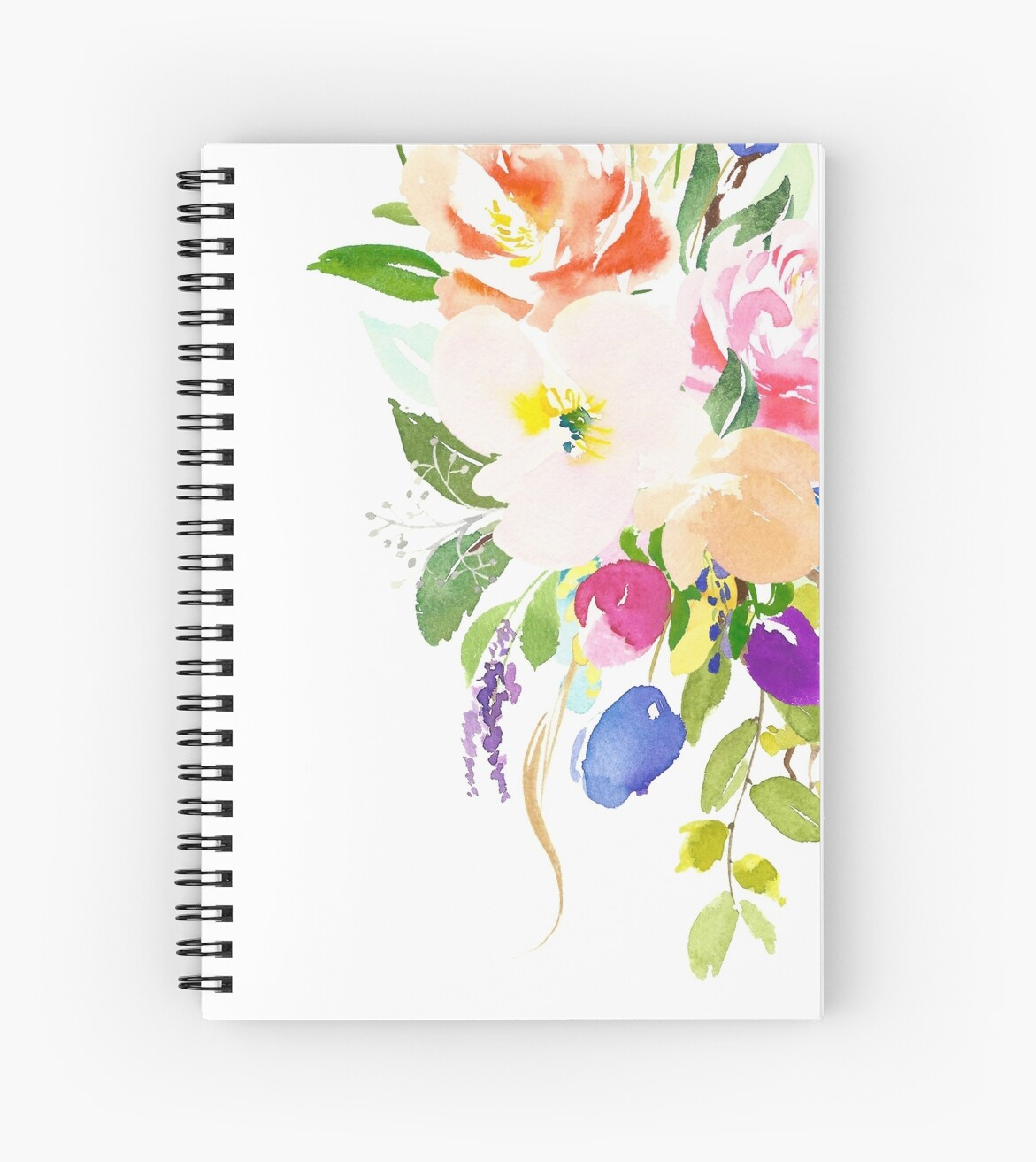 Watercolor Floral Bouquet Mixed Flowers Spiral Notebook By