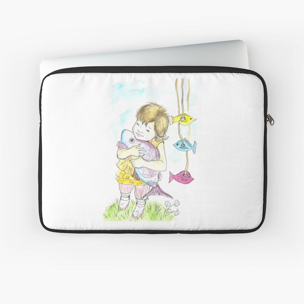 Girl with a toy-fish Laptop Sleeve Front