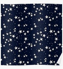 Seamless pattern with star in dark sky Poster
