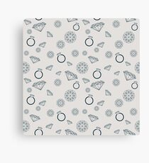 Pattern with jewelry goods such as diamonds, gemstones and rings Canvas Print