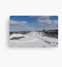 Niagara Falls Deep Freeze - Rainbow Bridge, the American Falls and a Rainbow Of Course  Canvas Print